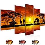 Bilder Afrika Sonnenuntergang Wandbild Vlies - Leinwand Bild XXL Format Wandbilder Wohnzimmer Wohnung Deko Kunstdrucke Orang 5 Teilig - MADE IN GERMANY - Fertig zum Aufhängen 000253a