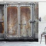 ABAKUHAUS Industriel Rideau de Douche, Locomotive de Train électrique, Tissu Ensemble de Décor de Salle de Bain avec Crochets, 175 cm x 200 cm, Gris Brun