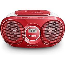 Philips AZ215R Lecteur CD,CD-R,RW Portable, Facile à Utiliser pour Enfants, avec Radio FM, Entrée Audio - Rouge et Blanc