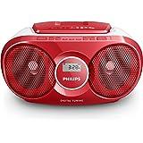 Philips AZ215R Lecteur CD,CD-R,RW Portable, Facile à Utiliser pour Enfants, avec Radio FM, Entrée Audio, Rouge et Blanc
