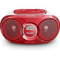 Philips AZ215R/12 Lettore CD Boombox, Sintonizzatore Digitale FM, 3 Watt, Entrata Audio, Rosso