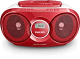 Philips AZ215R CD-Soundmachine (Digital UKW, Audioeingang, 3 Watt, leicht bedienbar) rot