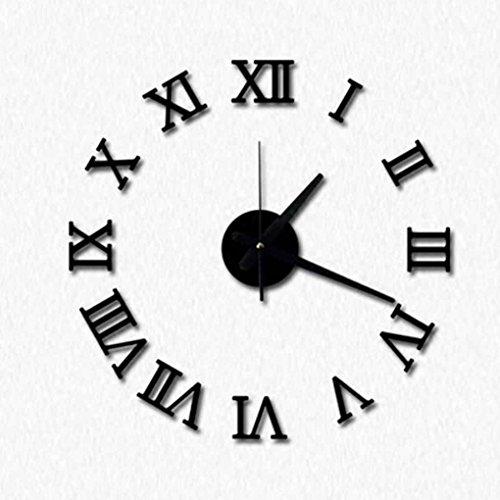 LUFA BRICOLAGE acrylique miroir horloge murale chiffres romains 3D design & Home Decor stickers muraux montres noir