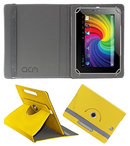Acm Rotating 360° Leather Flip Case for Micromax Canvas P650e Cdma Cover Stand Yellow  available at amazon for Rs.149