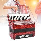 Fisarmonica a Bottoni, 34 Tasti 48 Strumento a Fisarmonica a Pianoforte per 48 Mani Basse per Principianti Adulti, Strumento per Ensemble Rosso per Regalo, Regalo di Natale