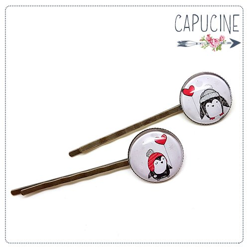 2 pinces Pingouins bronze et cabochons verre - pinces cheveux pingouin - Barrettes cheveux illustrées - Pingouin sous la Neige