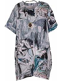 Neue Frauen Italienisch Lagenlook schrulligen abstrakten Print Leinen übergroßen Damen Tunika Kleid Plus Größe