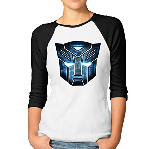 Frau Transformers Maske 3/4Sleeve Baseball Tshirt Raglan Jersey Shirt, Damen, schwarz -