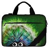 Silent Monsters Canvas Schutzhülle mit Zubehörfach 43,9 cm (17,3 Zoll) für Laptop grün Hedgehog