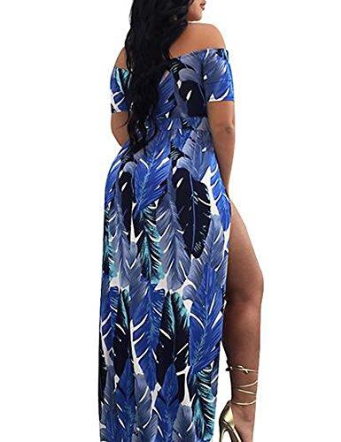 MEXI Womens Floral Schlitz aus Schulter Overlay Shorts Beauty Maxi Kleid Blau
