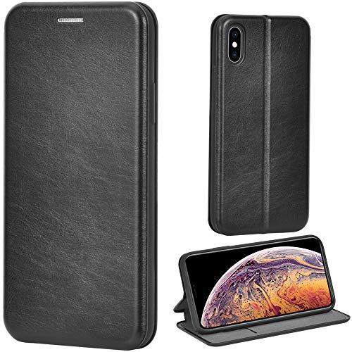 Leaum iPhone XS Hülle, iPhone X Handyhülle Leder Tasche Flip Case für Apple iPhone XS/X Schutzhülle (Schwarz)