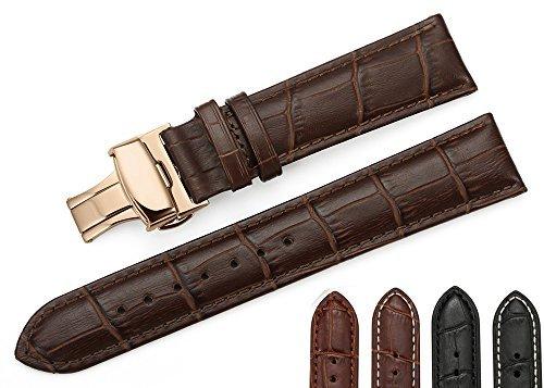 iStrap 18mm Echt Rindleder Uhrenarmbänder Armband Watch Band mit Roségold Schließen Baun
