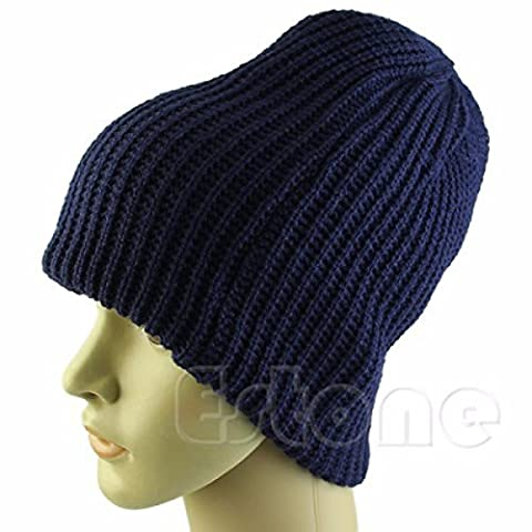 Hommes Outdoor Knitting Shredding Acrylique Warm Beanie Hat Outdoor Wind Proof Slouch Stretch Cap,Blue-OneSize