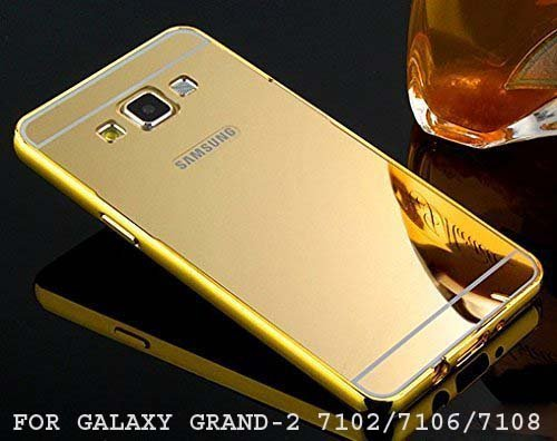 BRAND FUSON Luxury Metal Bumper + Acrylic Mirror Back Cover Case For SAMSUNG GALAXY GRAND 2, 7102/7106/7108 GOLD PLATED