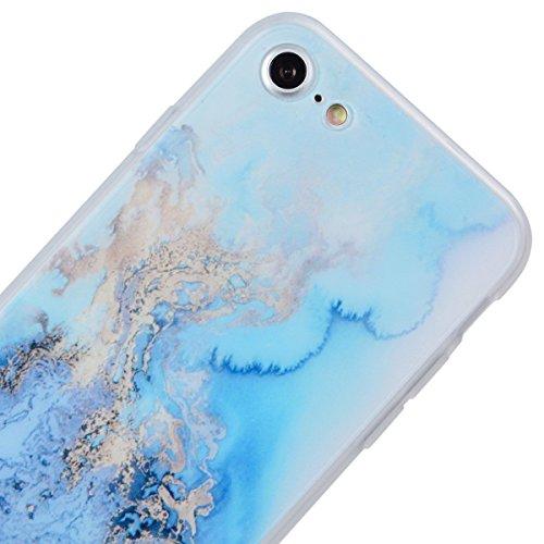 Coque iPhone 6, HB-Int 3 en 1 Housse Etui pour iPhone 6S Originale Motif Coque TPU Silicone Case Cover avec Ultra Fine Arrière Housse Rugged Slim Dual Layer Protective PC Couverture Légère Flexible Fo Bleu et Or