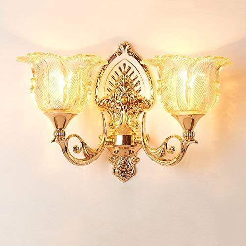 ● * Creative Double-Headed Zinklegierung Treppe Hintergrund Wandleuchte Einzelkopf Wohnzimmer Schlafzimmer Gang Wandleuchte Led Europäischen Luxus Nachttischlampe Scheune Leuchten (Größe: Doppelkopf) (Double Headed Nickel)