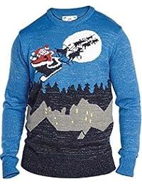 Hommes Duke D555 3D étoile Manchot Traîneau Grand Haut King Size Ras De Cou tricoté Pull Noël