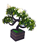 #9: Artificial Plant with Pot Height 10 inch Width 8 inch White Flowers Brown Wood Base