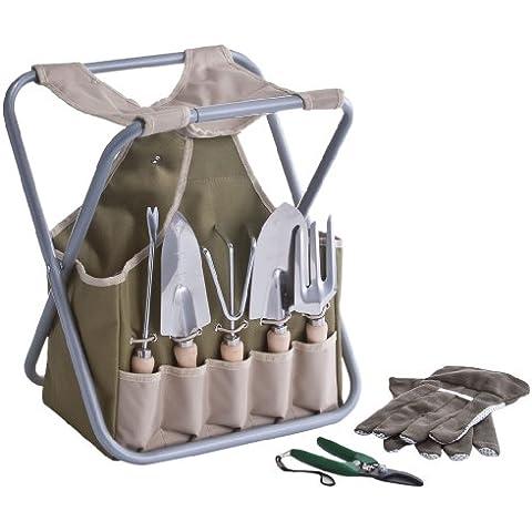 Zeller 16003 - Set de accesorios para jardín (incluye taburete y cesta, 9 piezas, poliéster, metal y madera, 30 x 19 x 40 cm) [Importado de Alemania]