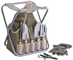 Idea Regalo - Zeller 16003 Set da Giardino con Contenitore e Sgabello, Polyester, Verde, 36x30x40 cm, 9 Unità