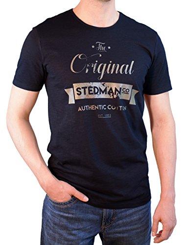 Original Stedman® Premium T-Shirt mit Vintage-Print für Herren, Flammgarn/Slub-Garn aus 100% Baumwolle - Farbe Schwarz - Größe XL (T-shirt Slub Crewneck)