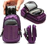 Navitech - Lila Digitalkamera Tasche für Nikon Coolpix W100 mit Gürtel und Schultergurt