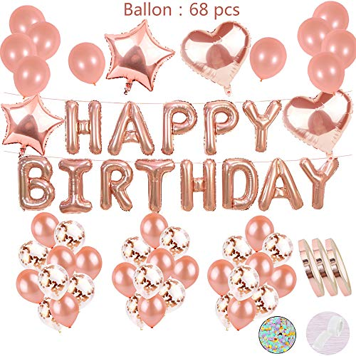cholinchin Deco De Cumpleaños con Oro Rosa para Niñas:Letras De Helio Globos Happy Birthday Girland y36Balloons y15Confetti Latex y 4Star Heart Balloon para Hija Novia Chica de Fiesta