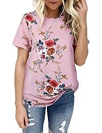 Preisvergleich für Frau Bluse,Beiläufig Blumen T-Shirt, Hirolan Damen Kurzarm Oberteile,Pullover Elegante blusen,Sweatshirt Bedrucken...