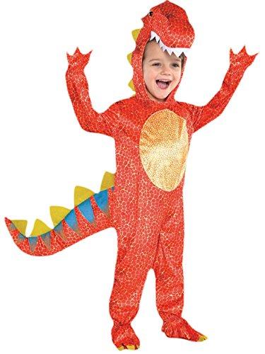 Karnevalsbud - Jungen Dinosaurier Kostüm, Karneval, Fasching, Halloween, Orange, Größe 104-116, 4-6 Jahre (Dinosaurier Kostüme Boy)