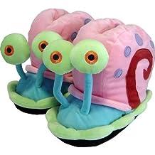Spongebob Schwammkopf 112225  - Zapatillas de felpa de estar por casa diseño Bob Esponja : Gary (talla L) [Importado de Alemania]