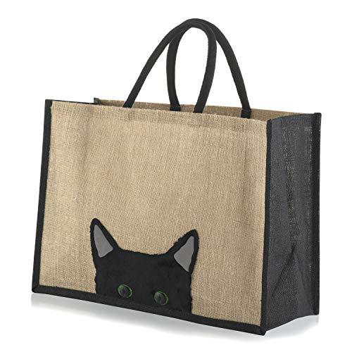 Jute-Einkaufstasche, Guck-guck-Katze, Schwarz , Large