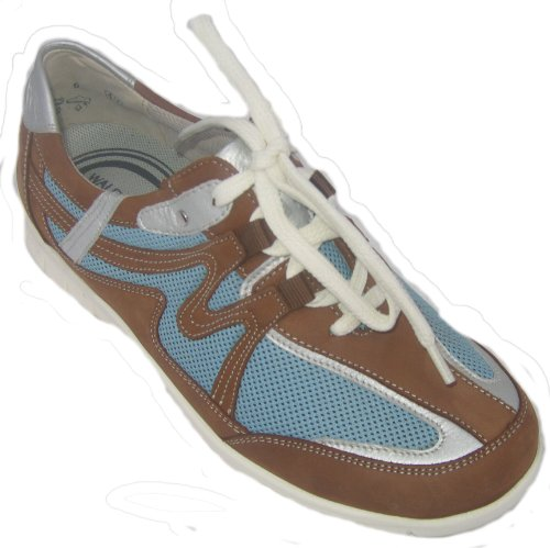 Waldläufer 586008-317-651 donna Sneaker Larghezza H marrone / bianco / blu/weiß/blau