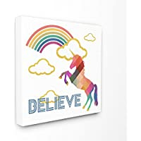 Stupell Industries Believe Rainbow Golden Unicorn Stretched Canvas Wall Art, 17 x 1.5 x 17, Proudly Made in USA preiswert