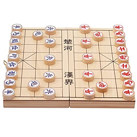 Zhhlaixing jouets en bois Toys Game Travel Set Chinese Chess with Magnetic Folding Board
