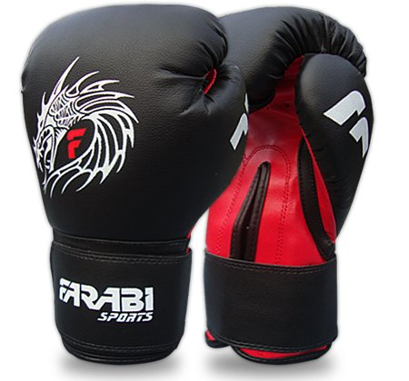 Farabi Sports Guanti da Boxe Sparring MMA Training Guanto in Pelle Rex Dragon Style (340,2 Gram)