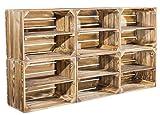 6er Set geflammte Kiste für Schuhregal und Bücherregal - Obstkiste flambiert / flammbiert mit Brett für Schuhe und Bücher - neue Holzkiste für Deko und als Regal aus Holz - sehr stabil 50x40x30cm
