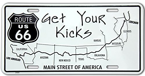 Route 66 Kicks US Alu Nummernschild Alu Flach Neu 15x30cm S163