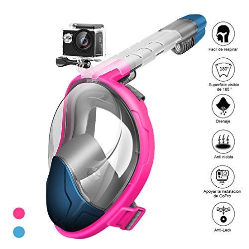 StillCool Máscara de Buceo para Snorkel Plegable Panorámica Cara 180°Respiración Fácil Impermeable AntivahoDiadema Ajustable con Dispositivo de cámara para Niños Adultos y Jóvenes (Azul, L)