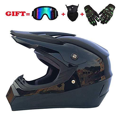SK-YBB Erwachsene Motorrad Fly Racing Elite Wachsame Helmhandschuhe + Brille + Maske Motocross-Rennhelm Helm Für Damen Und Herren Skateboard-Helm (M,6) -