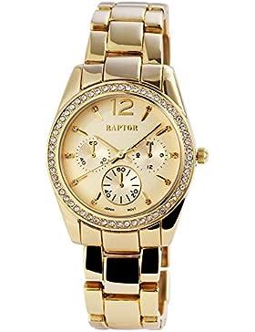 Raptor Damen Armbanduhr RA115 Metallband Analog Quarz Goldfarbig RA10062-002