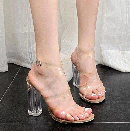 GLTER Cinturino di donne pompe a cristallo di spessore Charming Con High-tacco trasparente Toe Sandals reticolato Sandali Scarpette Albicocca apricot