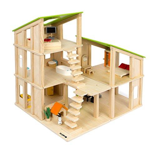 Kledio Kinder Holzpuppenhaus für Mädchen und Jungen ab 3 Jahren, Spielzeug Puppenhaus aus Holz FSC 100% inkl. 19-teiliges Zubehör