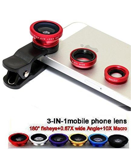 VOLTAC` ™ Universal Mobile Camera lens Clip-On 3 in 1 Kit, 180 Degree Fisheye Lens + 0.67X Wide Angle + 10X Macro Lens, With 2 Lens Clip Holders Pattern #132859