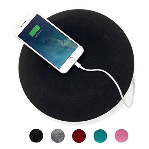 Muemma Wireless Bluetooth 360° Premium Lautsprecher ARiNA ACOUSTA schwarz / weiße Basis mit eingebautem Mikrofon & Wandhalterung, lange Akkulaufzeit, hohe Lautstärke, in vielen Farben