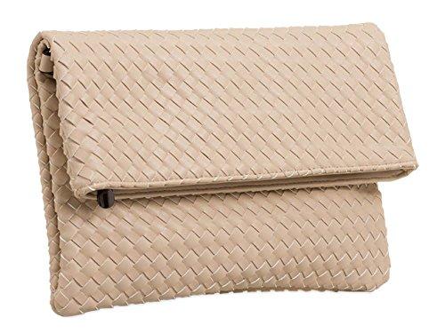Haute für Diva's NEU Damen verstellbarer Gurt gefalteter geflochten Kunstleder Schulter Handtasche - Beige, Large Beige