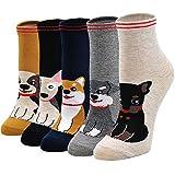 LOFIR Calcetines Divertidos de Algodón para Mujer Calcetines con Dibujos de Animal Perro Gato, Calcetines Vistoso, Calcetines Invierno para Mujer talla 36-41, 5 pares