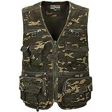 Zicac–Chaleco de camuflaje para exterior, con varios bolsillos multifunción. Malla transpirable de secado rápido para safari, turismo, pesca, acampadas, caza..., hombre, color camouflage, tamaño XXL