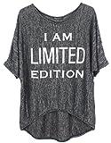 Emma & Giovanni - T-Shirt imprimé I am Limited Edition - Femme (Noir, L/XL)