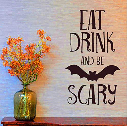 asd137588 Essen Trinken Beängstigend Zitate Wandaufkleber Halloween Party Decals Home Raumdekoration Adesivo De Paredes Abnehmbare DIY Wandaufkleber