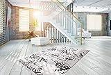 One Couture HOCHFLOR Teppich Design FRANSENTEPPICH Ethno MODERN WEICH WEIß SCHWARZ Teppich, Größe:160cm x 230cm